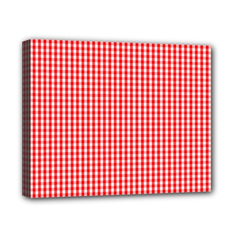 Small Snow White And Christmas Red Gingham Check Plaid Canvas 10  X 8  by PodArtist