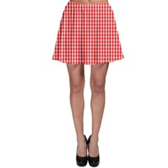 Small Snow White And Christmas Red Gingham Check Plaid Skater Skirt by PodArtist