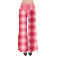 Small Snow White And Christmas Red Gingham Check Plaid Pants by PodArtist