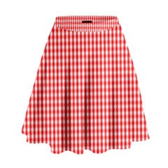 Small Snow White And Christmas Red Gingham Check Plaid High Waist Skirt by PodArtist