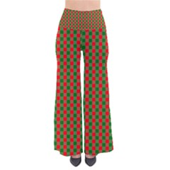 Large Red And Green Christmas Gingham Check Tartan Plaid Pants by PodArtist
