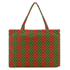 Large Red And Green Christmas Gingham Check Tartan Plaid Zipper Medium Tote Bag