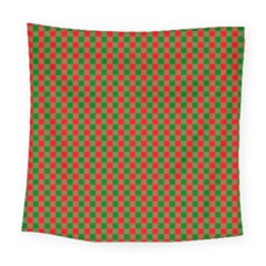 Large Red And Green Christmas Gingham Check Tartan Plaid Square Tapestry (large) by PodArtist