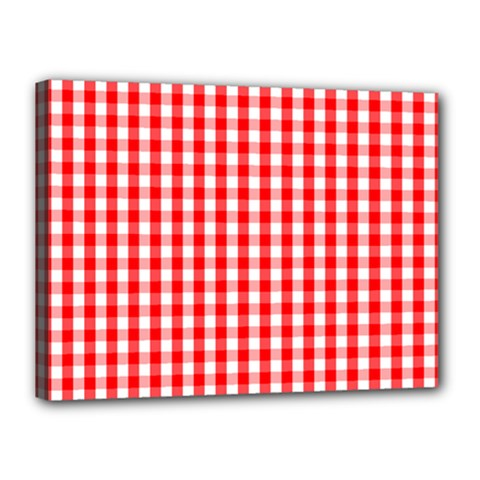 Large Christmas Red And White Gingham Check Plaid Canvas 16  X 12  by PodArtist