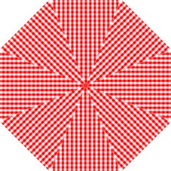 Large Christmas Red And White Gingham Check Plaid Hook Handle Umbrellas (small) by PodArtist