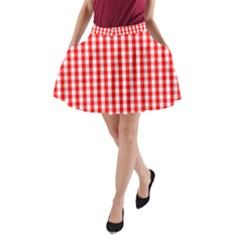 Large Christmas Red And White Gingham Check Plaid A Line Pocket Skirt by PodArtist