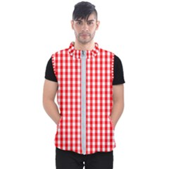 Large Christmas Red And White Gingham Check Plaid Men s Puffer Vest