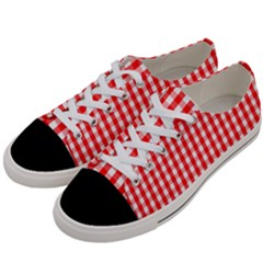 Large Christmas Red And White Gingham Check Plaid Women s Low Top Canvas Sneakers by PodArtist