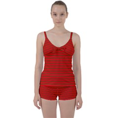 Christmas Red And Green Bedding Stripes Tie Front Two Piece Tankini