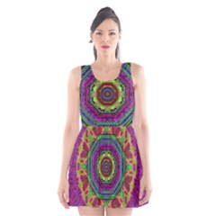 Mandala In Heavy Metal Lace And Forks Scoop Neck Skater Dress by pepitasart
