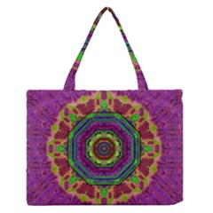 Mandala In Heavy Metal Lace And Forks Zipper Medium Tote Bag by pepitasart