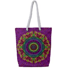 Mandala In Heavy Metal Lace And Forks Full Print Rope Handle Bag (small) by pepitasart