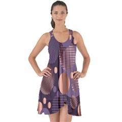 Random Polka Dots, Fun, Colorful, Pattern,xmas,happy,joy,modern,trendy,beautiful,pink,purple,metallic,glam, Show Some Back Chiffon Dress by 8fugoso