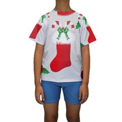 Christmas Stocking Kids  Short Sleeve Swimwear