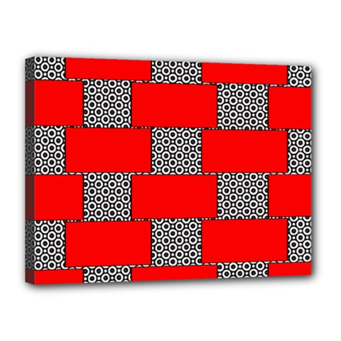 Black And White Red Patterns Canvas 16  X 12  by Celenk