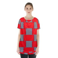 Black And White Red Patterns Skirt Hem Sports Top