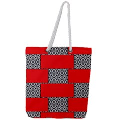 Black And White Red Patterns Full Print Rope Handle Tote (large) by Celenk