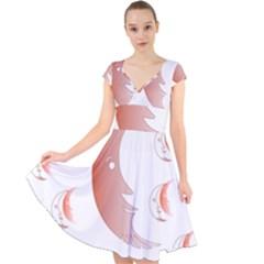 Moon Moonface Pattern Outlines Cap Sleeve Front Wrap Midi Dress by Celenk