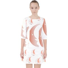 Moon Moonface Pattern Outlines Pocket Dress by Celenk