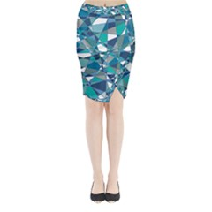 Abstract Background Blue Teal Midi Wrap Pencil Skirt by Celenk