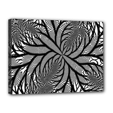 Fractal Symmetry Pattern Network Canvas 16  X 12  by Celenk