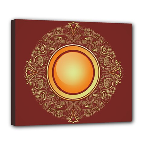 Badge Gilding Sun Red Oriental Deluxe Canvas 24  X 20   by Celenk