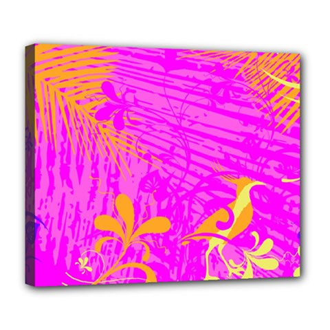 Spring Tropical Floral Palm Bird Deluxe Canvas 24  X 20   by Celenk