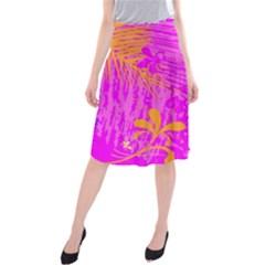 Spring Tropical Floral Palm Bird Midi Beach Skirt by Celenk