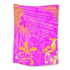 Spring Tropical Floral Palm Bird Medium Tapestry by Celenk