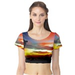 Sunset Mountain Indonesia Adventure Short Sleeve Crop Top