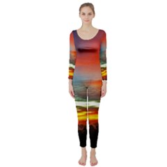 Sunset Mountain Indonesia Adventure Long Sleeve Catsuit by Celenk