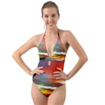Sunset Mountain Indonesia Adventure Halter Cut-Out One Piece Swimsuit