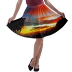 Sunset Mountain Indonesia Adventure A-line Skater Skirt