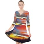 Sunset Mountain Indonesia Adventure Quarter Sleeve Front Wrap Dress