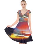 Sunset Mountain Indonesia Adventure Cap Sleeve Front Wrap Midi Dress