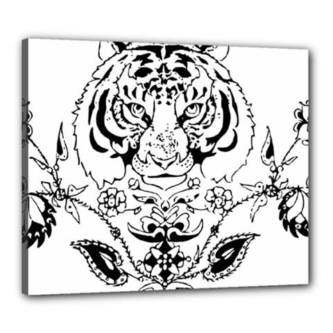 Tiger Animal Decoration Flower Canvas 24  X 20  by Celenk