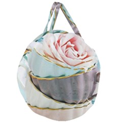 Tea Cups Giant Round Zipper Tote by 8fugoso