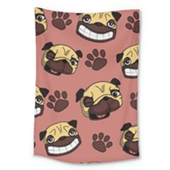 Happy Pugs Large Tapestry by AllThingsEveryone