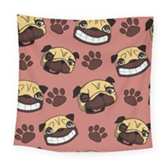 Happy Pugs Square Tapestry (large) by allthingseveryone