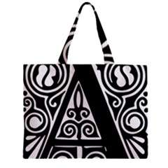 Alphabet Calligraphy Font A Letter Zipper Mini Tote Bag by Celenk