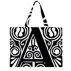 Alphabet Calligraphy Font A Letter Zipper Large Tote Bag by Celenk