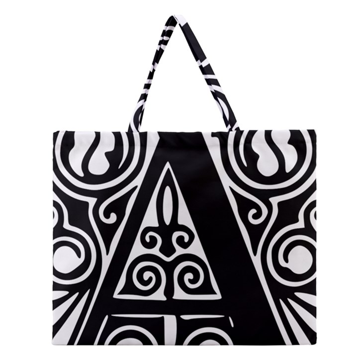 Alphabet Calligraphy Font A Letter Zipper Large Tote Bag