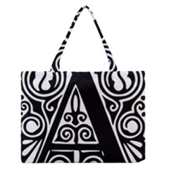 Alphabet Calligraphy Font A Letter Zipper Medium Tote Bag by Celenk