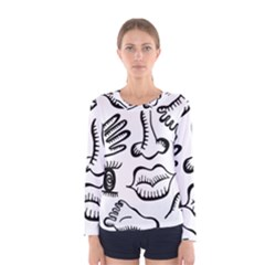 Anatomy Icons Shapes Ear Lips Women s Long Sleeve Tee by Celenk