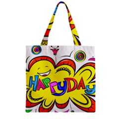 Happy Happiness Child Smile Joy Zipper Grocery Tote Bag by Celenk