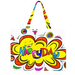 Happy Happiness Child Smile Joy Zipper Large Tote Bag by Celenk