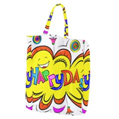 Happy Happiness Child Smile Joy Giant Grocery Zipper Tote by Celenk