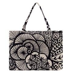 Background Abstract Beige Black Zipper Medium Tote Bag by Celenk