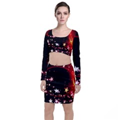 Circle Lines Wave Star Abstract Long Sleeve Crop Top & Bodycon Skirt Set