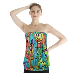 Painting Painted Ink Cartoon Strapless Top